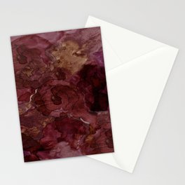 Rose, Burgundy and Merlot Watercolor Flowers Stationery Cards
