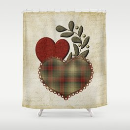 Red & Green Plaid Heart Love Letter Shower Curtain