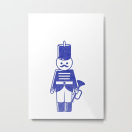 French toy soldier with bugle, drawing with letterpress effect. Metal Print