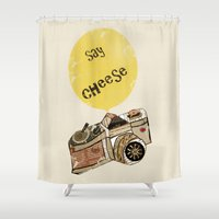 cheese Shower Curtains featuring say cheese by bri.buckley