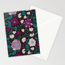 Dark Moody Garden Floral Pattern Stationery Cards