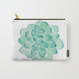 Watercolor Succulent print in seafoam green Carry-All Pouch