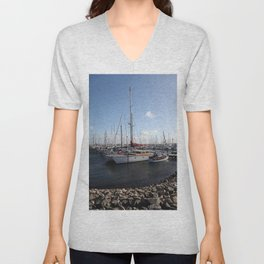 Sailboats at the Pier Unisex V-Neck