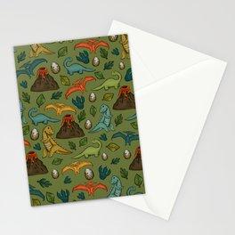 Dinosaur Print, Dino, Jurassic, Jurassic Art, Volcanos, T-Rex, Green Stationery Cards