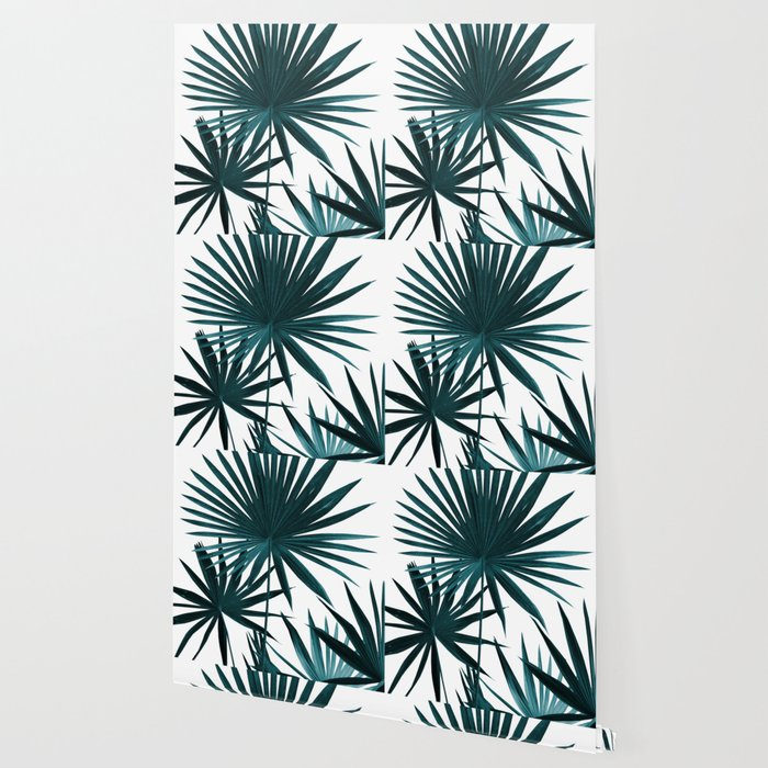 Fan Palm Leaves Jungle 1 Tropical Decor Art Society6 Wallpaper