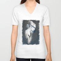 black swan V-neck T-shirts featuring Black Swan by Susana Miranda ilustración