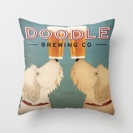 Goldendoodle Labradoodle Doodle Brewing Co. Beer Sign Throw Pillow