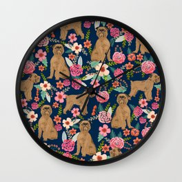 Brussels Griffon florals pattern for dog lovers custom pet friendly gifts for all dog breeds Wall Clock