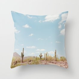Saguaros in the Desert Throw Pillow