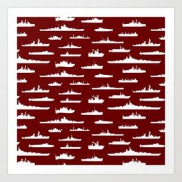 Battleship // Maroon Art Print