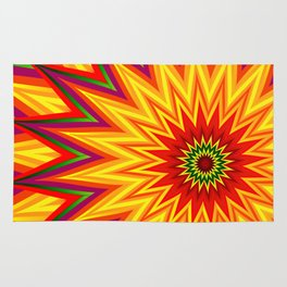 Fractal Sunflower Colorful Abstract Floral Rug