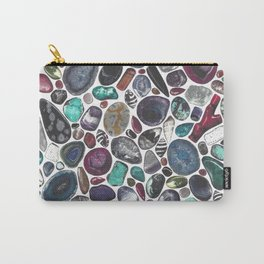 MIXED GEMSTONES ON WHITE Carry-All Pouch