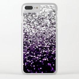 Dark Night Purple Black Silver Glitter #1 #shiny #decor #art #society6 Clear iPhone Case