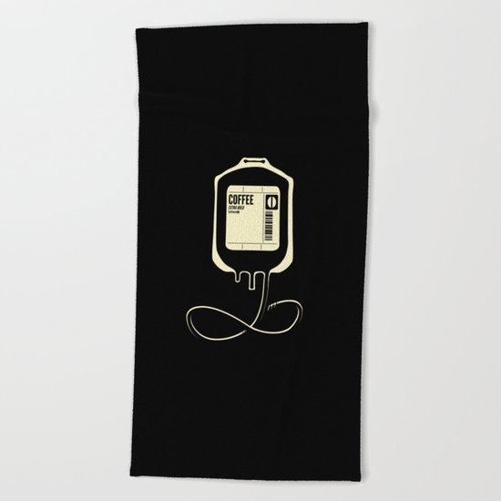 Coffee Transfusion - Black Beach Towel