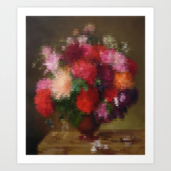 Geometric bunch of flowers Art Print