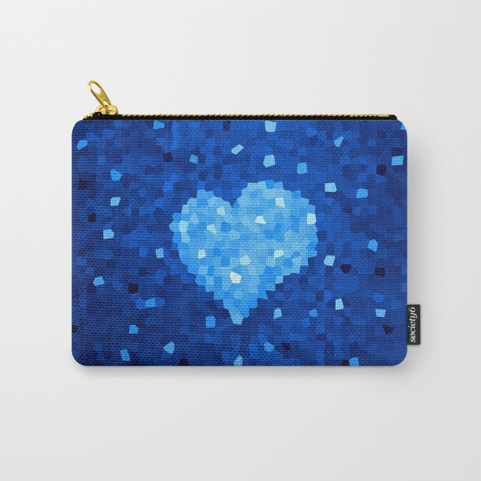 Winter Blue Crystallized Abstract Heart Carry-All Pouch