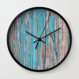 Rustic turquoise weathered wood shabby style Wall Clock