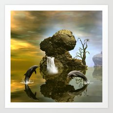 Playing dolphins  Art Print