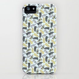 Gold Leaves, Plants, Foliage > illustration > blue repeat pattern iPhone Case