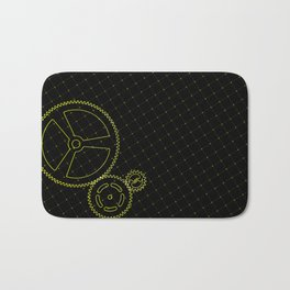 Set of yellow gears and cogs on virtual screen Bath Mat