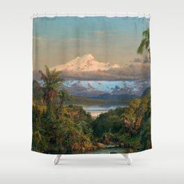 Volcán Cayambe, Ecuador Landscape Painting by Frederic Edwin Church Shower Curtain