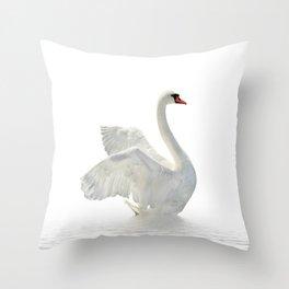 WHITE ON WHITE-BEAUTIFUL SWAN Throw Pillow