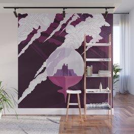 Enceladus Retro Space Poster : Eggplant Purple Pink Wall Mural