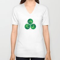 clover V-neck T-shirts featuring White Clover by Christopher Dina