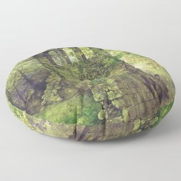 Ruins in the forest Floor Pillow