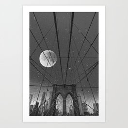 Blood Moon over Brooklyn Bridge and New York City Art Print
