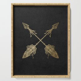 Gold Arrows on Black Serving Tray