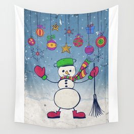Snowman Christmas illustration Wall Tapestry