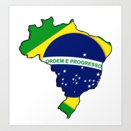 Brazil Brasil Map with Brazilian Brasilian Flag Art Print