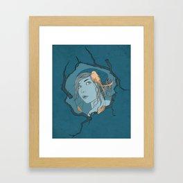 Girl with Bird Framed Art Print