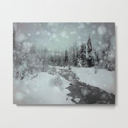 Blue Winter Landscape Metal Print