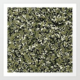 Green Black & Cream Camouflage Art Print