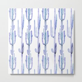 Blue Cactus Stack Pattern Metal Print