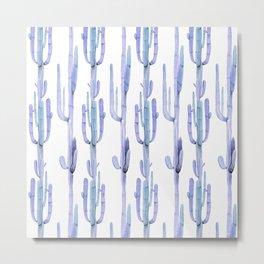 Blue Cactus Stack Pattern Metal Print