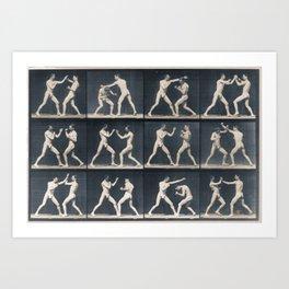 Time Lapse Motion Study Men Kick Boxing Art Print