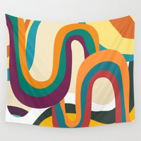 doom Wall Tapestries featuring Groovy rainbow of doom by Picomodi