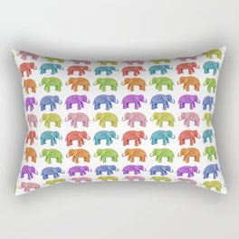Colorful Parade of Elephants in Red, Orange, Yellow, Green, Blue, Purple and Pink Rectangular Pillow