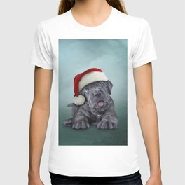 Puppy Cane Corso - Italian Mastiff in red hat of Santa Claus T-shirt