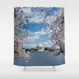 Thomas Jefferson Memorial with Cherry Blossoms  Shower Curtain