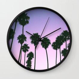 Palm Tree Purple Sunset Wall Clock