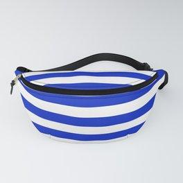 Cobalt Blue and White Horizontal Beach Hut Stripe Fanny Pack