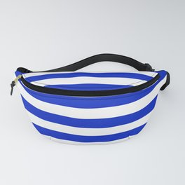 Cobalt Blue and White Horizontal Beach Hut Stripe Fanny Pack