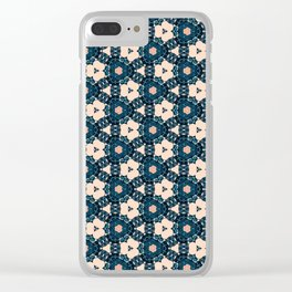 Geometrical Dark Blue delicate Flower design Clear iPhone Case