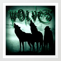 wolves Art Prints featuring WolveS by shannon's art space