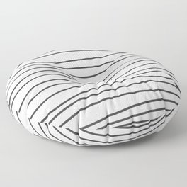 Black and White Brush Lines Floor Pillow