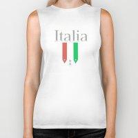 world cup Biker Tanks featuring Italia World Cup Logo by Bunhugger Design